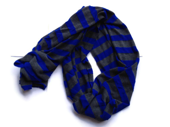 Royal blue and charcoal gray stripe scarf, hacci sweater knit scarf, hipster scarf